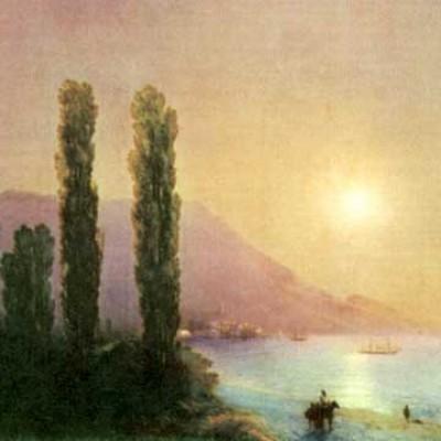 7b-yalta - aivazovsky 1864-the sunrise on the seashore near