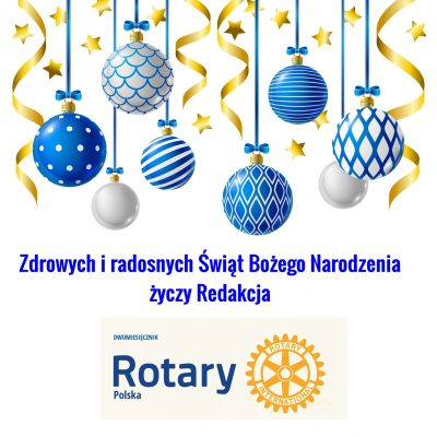 Christmas greeting card with blue and white Xmas balls