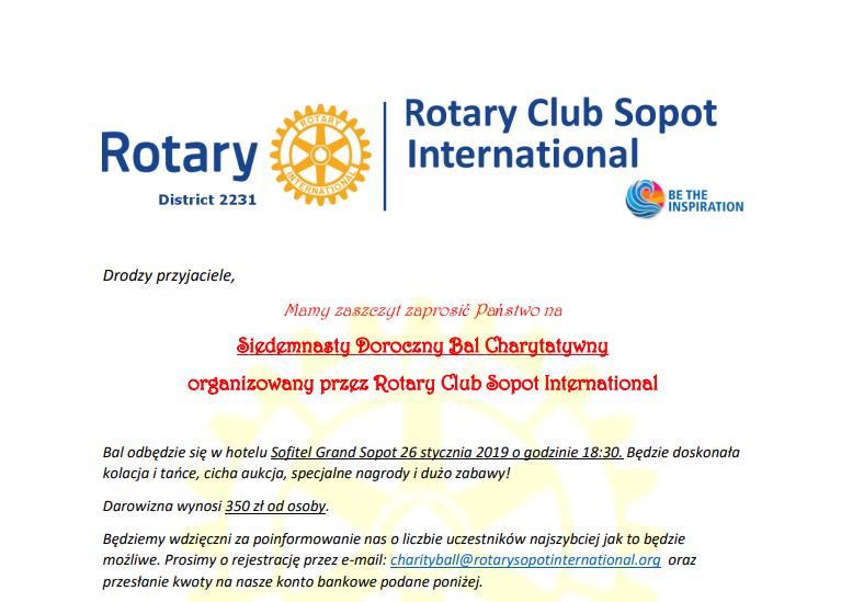 Siedemnasty Doroczny Bal Charytatywny Rc Sopot International