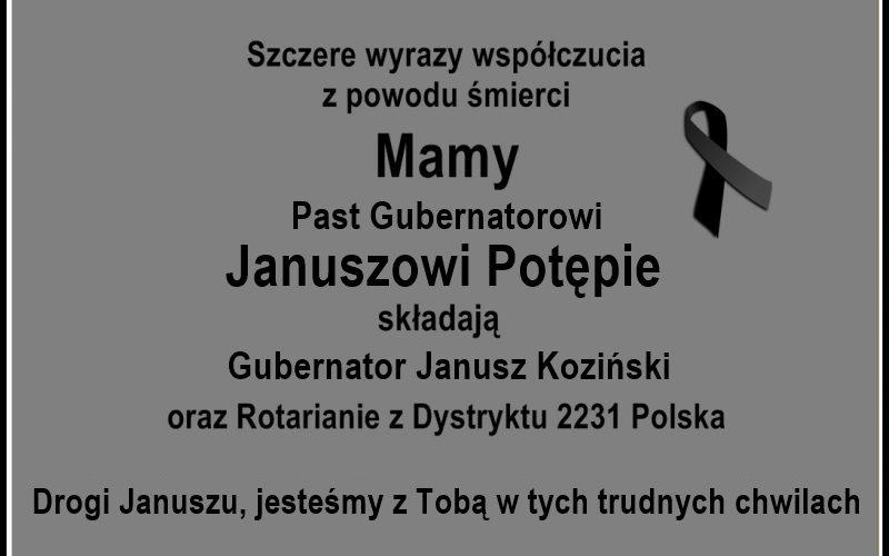 Wyrazy współczucia dla PDG Janusza Potępy z powodu śmierci Mamy