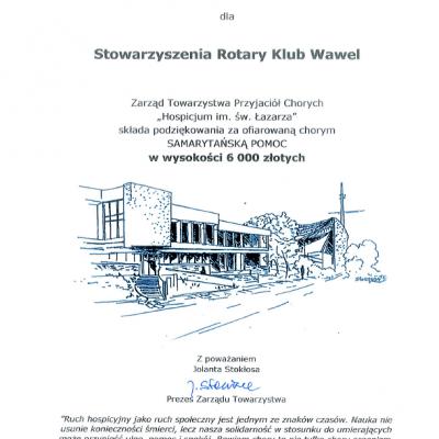 RC Krakow Wawel podziekowanie hospicjum